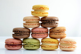 Macarons Pastel Tone Pyramid on White Background Photographic Print by Laetitia Julien