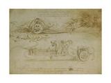Leonardo da Vinci - Studies of Assault Wagons Fitted with Scythes - Giclee Baskı