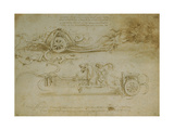 Studies of Assault Wagons Fitted with Scythes Giclee Print by  Leonardo da Vinci