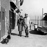 British Actor Rex Harrison Walking with His Fourth Wife Photographic Print