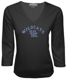 Juniors: Kentucky Wildcats V-neck with Crystal Embellished Logo Shirt