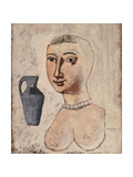 Bust with Blue Vase Giclee Print by Massimo Campigli