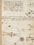 Page from the Codex Regarding the Flight of Birds Giclee Print by  Leonardo da Vinci