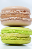 Macro of Two Pistachio Macaroons and Coffee Photographic Print by Laetitia Julien