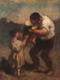The Kiss or Father and Child Reproduction procédé giclée par Honoré Daumier
