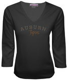 Juniors: Auburn Tigers V-neck with Crystal Embellished Logo T-Shirt