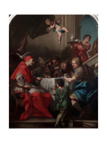 St. Gregory the Great Having Dinner with Christ Pilgrim Giclée-tryk af Antonio Balestra