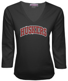 Juniors: Nebraska Cornhuskers V-neck with Crystal Embellished Logo Shirts