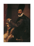 Portrait of a Gentleman with His Dog Giclee Print by Bartolomeo Passarotti