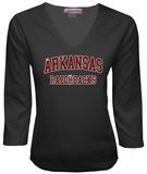 Juniors: Arkansas Razorbacks V-neck with Crystal Embellished Logo T-Shirt