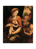 The Virgin and Child Adored by St Jerome Giclee Print by Luis De morales