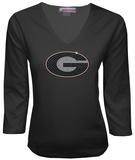 Juniors: Georgia Bulldogs V-neck with Crystal Embellished Logo T-shirts
