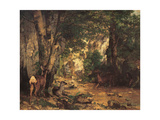 A Thicket of Roe Deer at the Stream of Plaisir Fontaine Giclee Print by Gustave Courbet