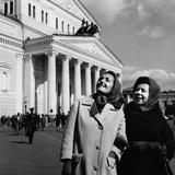Gabriella Tucci and Giulietta Simionato in Front of the Bolshoi Theatre Photographic Print