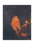 Old Woman with Candle Giclee Print by Bartholomaus Maton