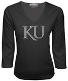 Juniors: Kansas Jayhawks V-neck with Crystal Embellished Logo T-Shirt