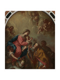 St. Nicholas and St. Valentine at the Foot of the Virgin Giclee Print by Antonio De Pieri