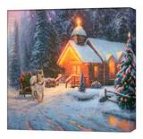 Christmas Chapel I Stretched Canvas Print by Thomas Kinkade