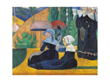 Brittany Women with Umbrellas Giclee Print by Emile Bernard