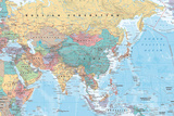 Middle East and Asia map Kunstdrucke