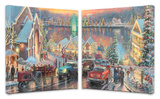 Lights of Christmastown (set of 2) Stretched Canvas Print by Thomas Kinkade