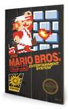 Super Mario Bros. - NES Cover Wood Sign Targa di legno