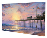 Footprints in the Sand Stretched Canvas Print by Thomas Kinkade