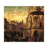 Miracle of the Relic of the True Cross at the Rialto Bridge or the Healing of the Possessed Man Giclée-tryk af Vittore Carpaccio