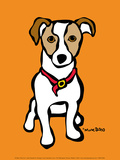 Jack Russell on Orange Poster by Marc Tetro