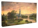 Sunrise Chapel Stretched Canvas Print by Thomas Kinkade