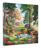 Winnie the Pooh I (Puddle Jumping) Stretched Canvas Print by Thomas Kinkade