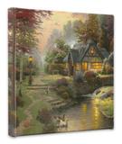 Holzhaus am Bach|Stillwater Cottage Leinwand von Thomas Kinkade