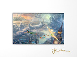 Tinker Bell and Peter Pan Fly to Neverland Matted Print by Thomas Kinkade