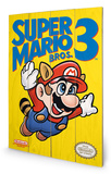 Super Mario Bros. 3 - NES Cover Wood Sign Targa di legno