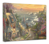 Village Lighthouse Stretched Canvas Print by Thomas Kinkade
