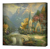 Mountain Chapel Stretched Canvas Print by Thomas Kinkade
