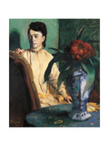 A Woman Seated Beside a Vase of Flowers Giclee Print by Edgar Degas