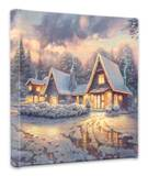 Christmas Lodge Stretched Canvas Print by Thomas Kinkade