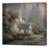 Forest Chapel Stretched Canvas Print by Thomas Kinkade