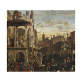 Miracle of the Relic of the True Cross at the Rialto Bridge or the Healing of the Possessed Man Giclee Print by Vittore Carpaccio
