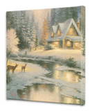 Deer Creek Cottage Stretched Canvas Print by Thomas Kinkade