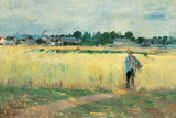 In the Wheat Fields at Gennervilliers Giclee Print by Berthe Morisot