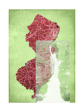 New Jersey Cut Out Green Giclee Print by Andrew Sullivan