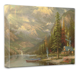 Mountain Majesty Stretched Canvas Print by Thomas Kinkade