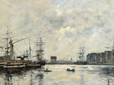 The Port of Le Havre (Dock of La Barre) Giclee Print by Eugène Boudin