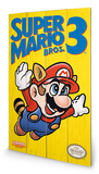 Super Mario Bros. 3 - NES Cover Wood Sign Treskilt