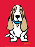 Basset Hound on Red Art by Marc Tetro