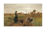 The Hiss of Steam Giclée-tryk af Angiolo Tommasi
