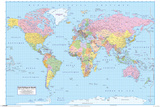 French World Map Affiche