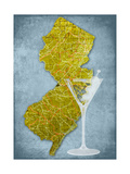 NJ Martini Blue Giclee Print by Andrew Sullivan
